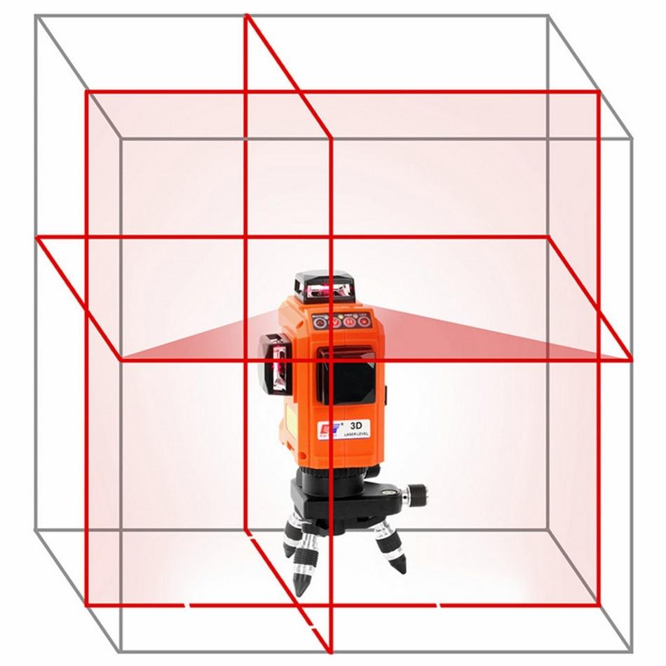 12 lignes 3D niveau Laser trépied auto-nivelant 360 Horizontal 650nm support Vertical croix rouge Laser faisceau ligne niveau Laser