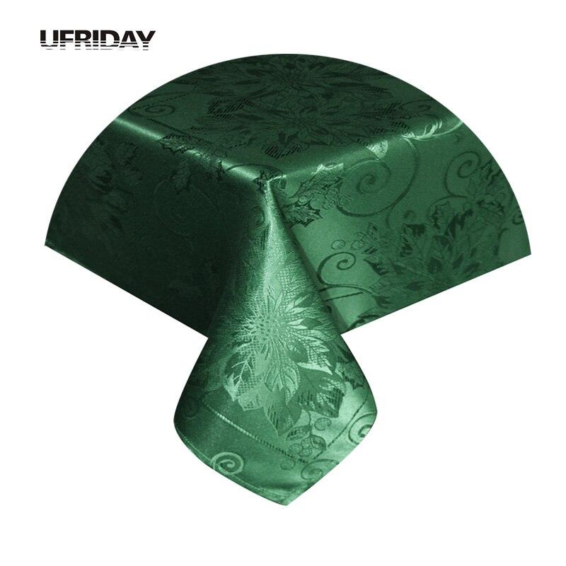 UFRIDAY Élégant Jacquard Feuilles Nappe pour Rectangle Tables Vert Argent Table Carrée Tissu Polyester Couverture De Table manteles