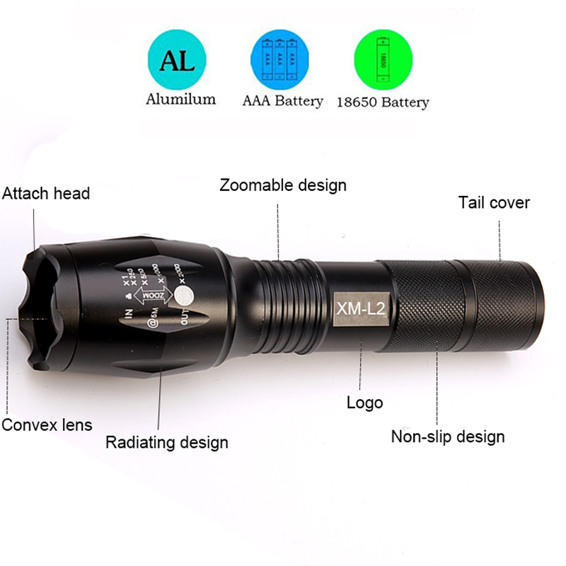 CREE XML-T6 L2 Flashlight 6000lm Adjustable Zoomable led Flashlight Lamp Light LED Tactical Torch Lantern Rechargeable 18650