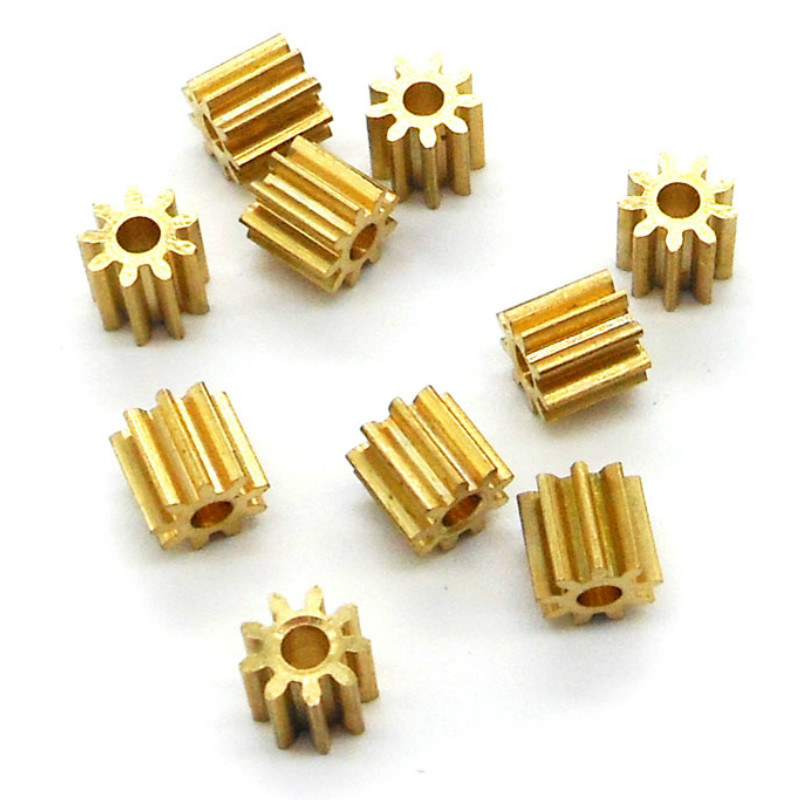 092A 0.6M Brass Pinion 0.6 Modulus 9 Teeth Holes 1.98mm Tooth Thickness 6 Copper Gear Small Modulus Gears