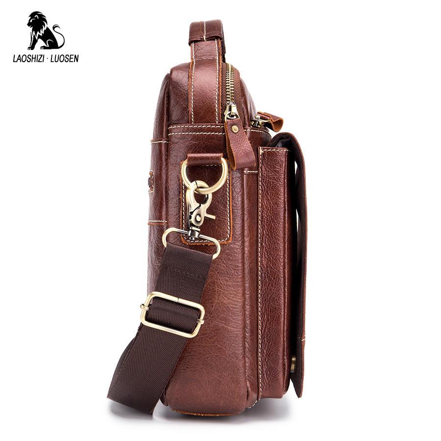 Image 4 - LAOSHIZI LUOSEN Messenger Bag Men Genuine Leather Shoulder Bag Men's bags Small Flap Casual Crossbody Bags for Men Handbag 2018-in Crossbody Bags from Luggage & Bags