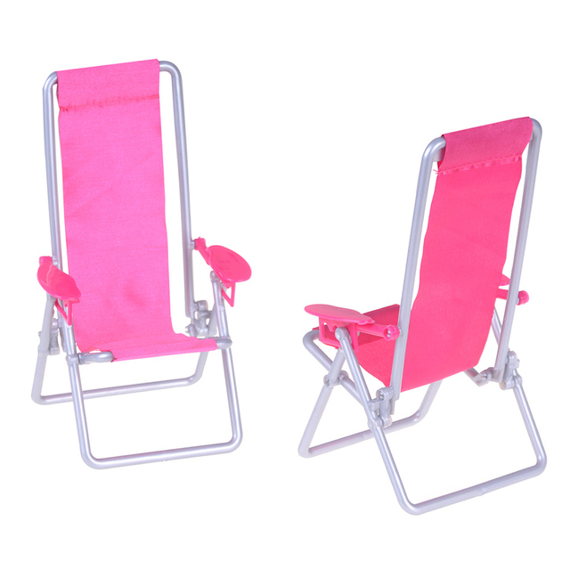 1pcs Pink Foldable Plastic Beach Chair Deck 1 12 Scale Mini Garden Lawn Furniture For