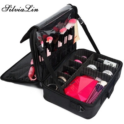 Super Large Professional Makeup Bag Wedding Cosmetic Case Large Capacity Travel Suitcase For Make Up Waterproof Organizer Box new arrive hot 2pc set portable jewelry box make up organizer travel makeup cosmetic organizer container suitcase cosmetic case