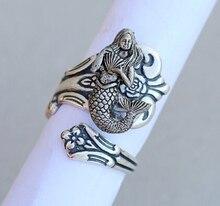 Wholesale Unique Trendy Retro Mermaid Ring Antique Silver/Bronze Color Plated Men Ring Women Fashion Jewelry Nen Ya Gift