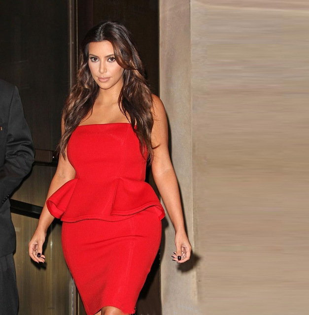 Robe de Soiree Red Short Prom Dresses Cheap Kim Kardashian Celerity ...
