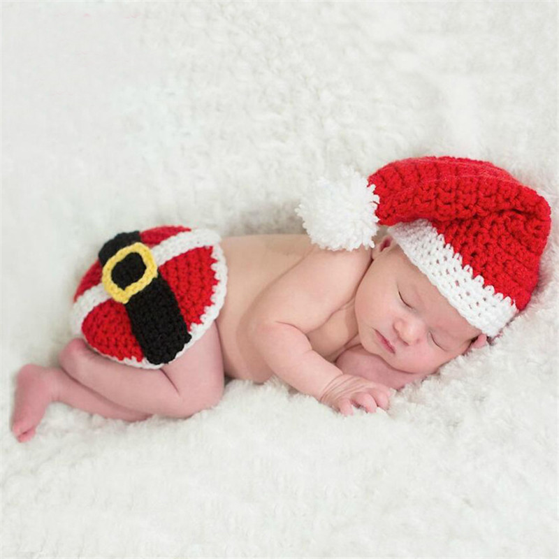 Newborn Photography Props Infant Clothes Set One Hundred Days Baby Christmas Hat Handmade Toddler Crochet Knitted Clothing Suit
