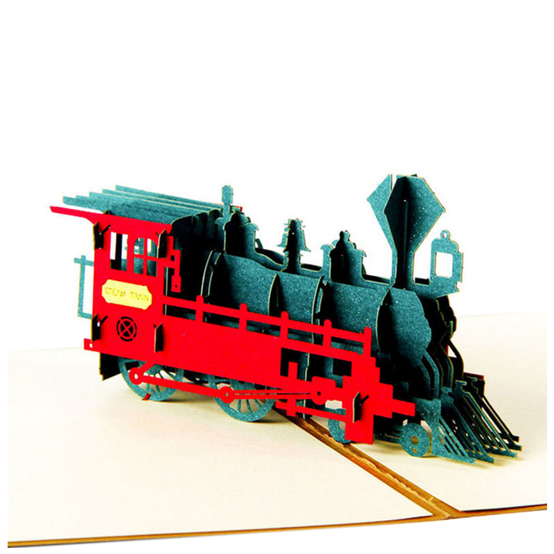 Perfect-Retro 3D laser cutting paper postcard creative hand retro train birthday postcard greeting card