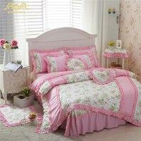 ROMORUS 100% хлопок розовый/зеленый Красивая Корейская принцесса постельное белье 4 шт. для девочек queen King Размеры кровать юбка набор пододеяльни