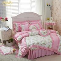 ROMORUS 100% хлопок розовый/зеленый красивый Корейская принцесса Постельное белье 4 шт. для девочек queen King Размеры кровать юбка пододеяльник комп