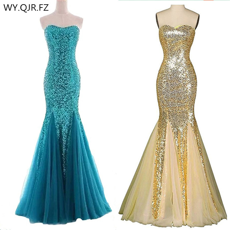 LLY188K#Fishtail Paillette blue yellow Lace up   Bridesmaid     Dresses   wedding party prom   dress   2018 cheap wholesale and customize
