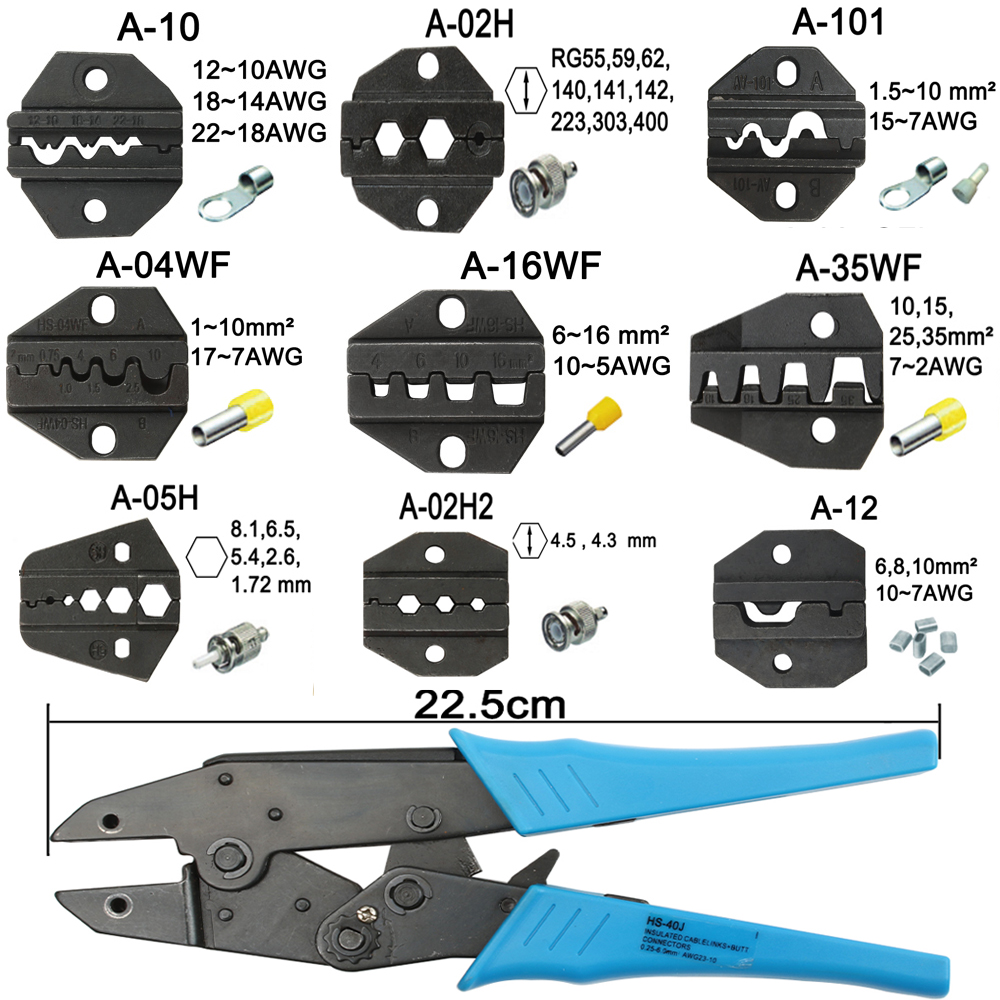 A05H A02H2 A12 A02H A35WFDie Sets For HS HS-05H FSE-05H AM-10 EM-6B1 EM-6B2 CRIMPING PILER Crimping Machine One Set Modules Jaws