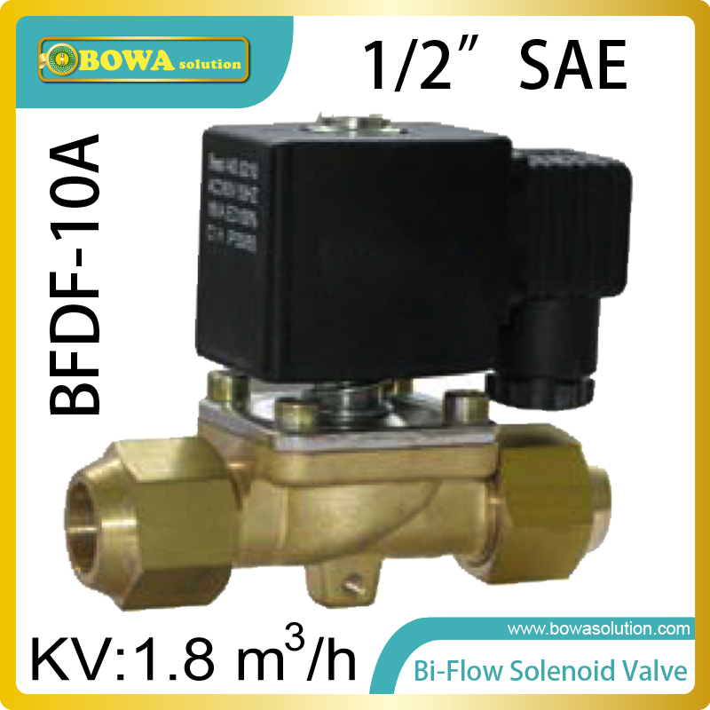 1/2 Bi-flow solenoid valves are mainly used in cooling and heating integrated machine, allows refrigerant  flow without limit thermo operated water valves are used for proportional regulation of flow quantity depending on the setting and the sensor
