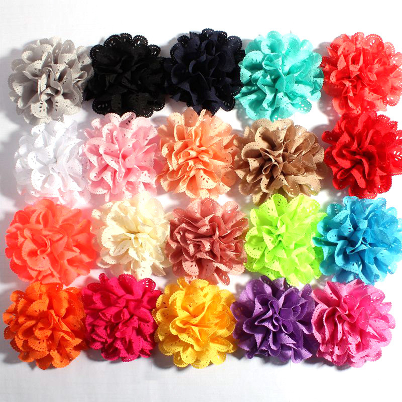 50pcs/lot 10cm 20colors Handmade Blossom Eyelet Flowers For Children Hair Accessories Artificial Fabric Flowers For Headbands