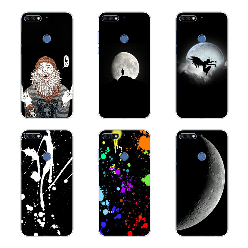 huawei y7 pro 2018 Case Silicon Black graffiti Painting Soft TPU Back Cover for huawei y7 pro 2018 Protect Phone cases shell in Fitted Cases from Cellphones Telecommunications