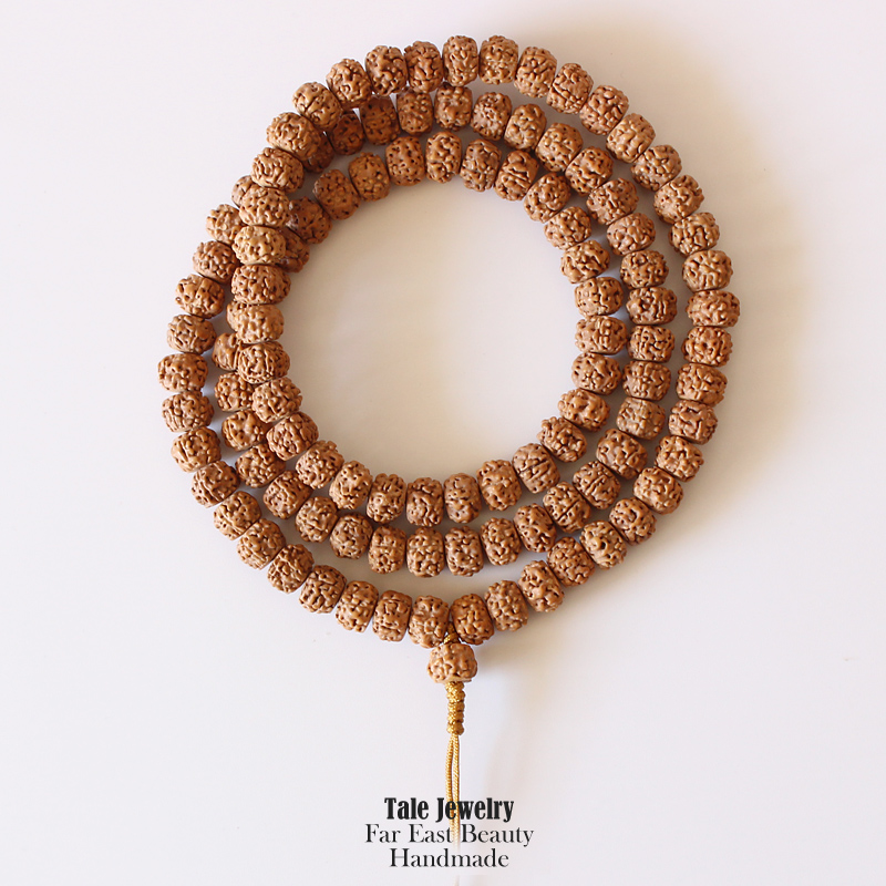 Wholesale 108+1 mala Tibetan Buddhist Prayer Beads Natural Rudraksha Necklace Unisex Wood Seed Beads Yoga Meditation OM Jewelry aaa 4mm natural olivine beaded bracelet tibetan buddhist prayer beads necklace gourd mala prayer bracelet for meditation