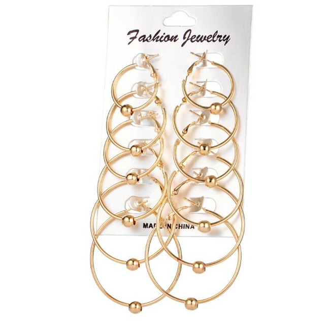 2017 Newest Round Hoop Earrings For Women Modern Gold Silver Color Beads Circle Earring