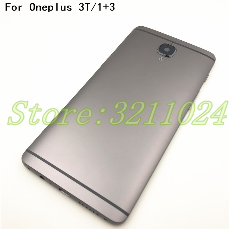 Metal For Oneplus <font><b>one</b></font> <font><b>plus</b></font> 3 <font><b>3T</b></font> A3000 1+3 Back <font><b>Battery</b></font> Cover Door Housing Case With Camera Len+Vibration Motor Sim Card+Logo image