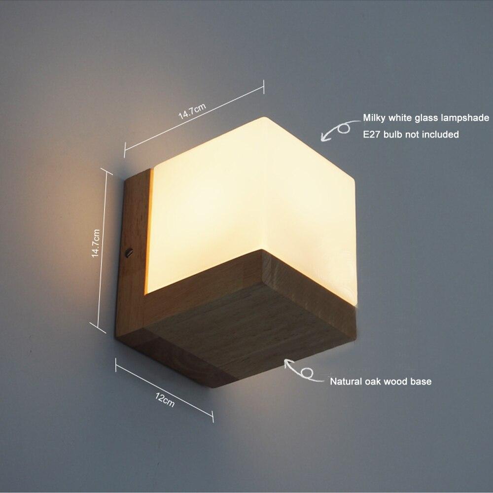 Modern Oak Wood Cube Sugar Shade Wall Lamp Bedroom Wooden Glass Wall ...