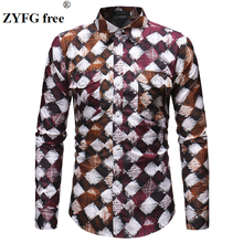 Trendy spring and summer simple casual mens shirt creative printing long sleeve shirts youth vitality tide male clothing