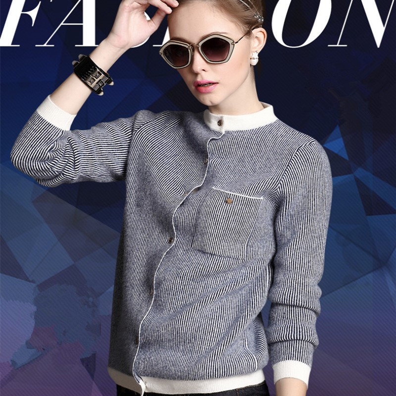 Spring And Autumn Women s Cardigan Short Style Sweater Female Striped Sweater Coat Thick Mandarin Collar