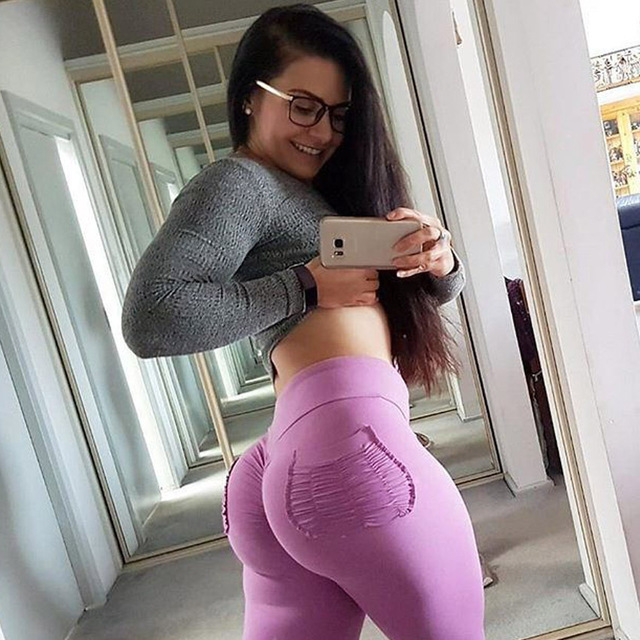 Women Fitness Push Up Leggings High Waist Elastic Workout Legging Pants 2018 Fashion Female Grey Pocket Leggings Plus Size Femme