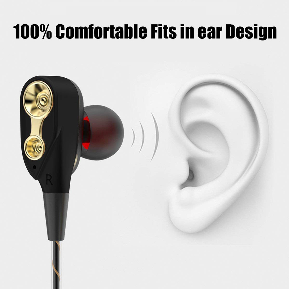 GSDUN GS12 Double Dynamic Earphone Sport Headphones Bass Dual Drivers Headset Earbud with Mic for Phones Iphone Xiaomi Samsung in Phone Earphones Headphones from Consumer Electronics