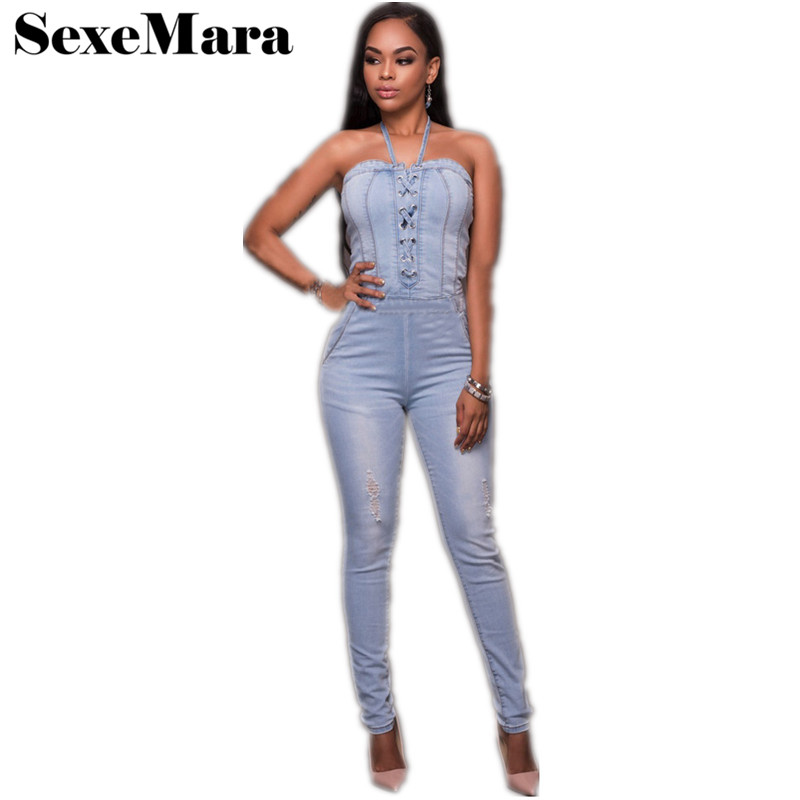 8d09cde5fe02 2017 Summer New Skinny Halter Bandage Women Ripped Denim Jumpsuit Casual  Sexy Stretch Romper Fashion Jeans Overalls D30-AF81