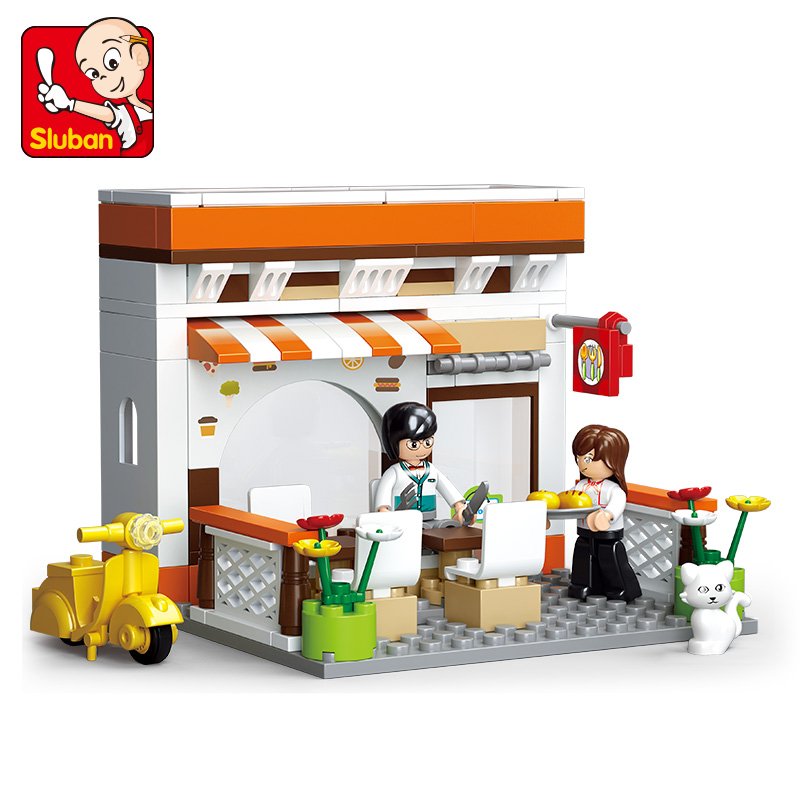 134Pcs Sluban B0567 Casual Diner SimCity My Building Blocks Bricks Toys Forge Mini World minis Kids Toys Free Shipping image