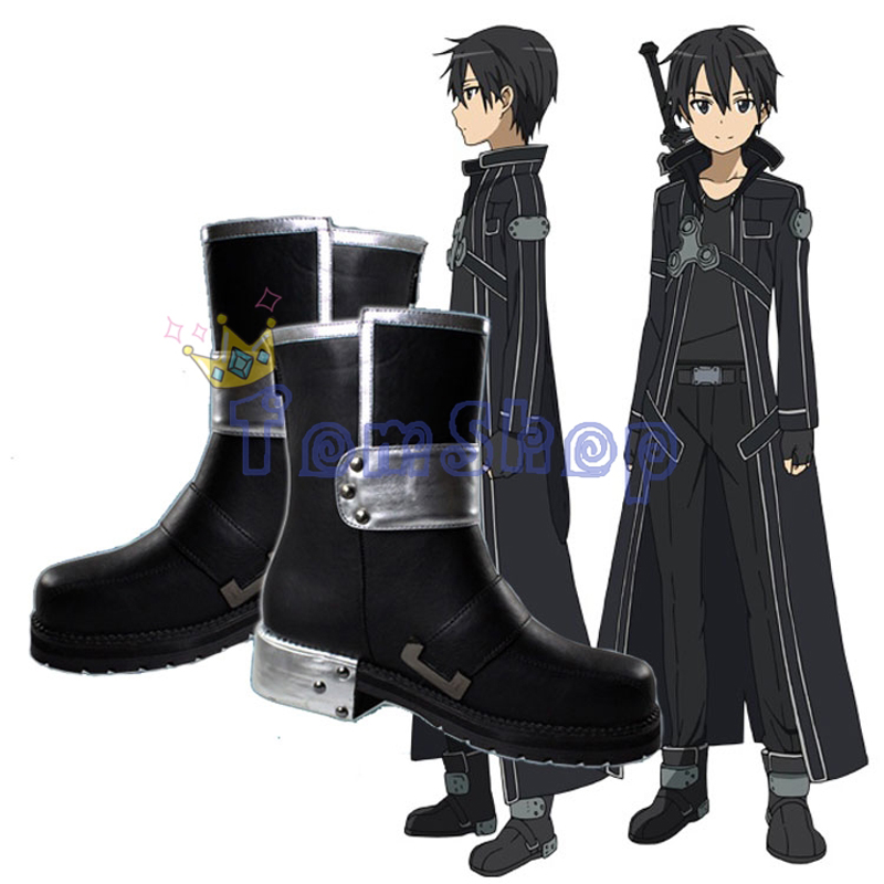 Sword Art Online SAO Kirito Kirigaya Kazuto Cosplay Shoes Black Leather Boots Men Women Halloween Costumes