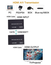 Luiizans 1080p HDMI Extender over one CAT5e/CAT6 Extend 120M/393FT HDMI AV Extender and Receiver стоимость