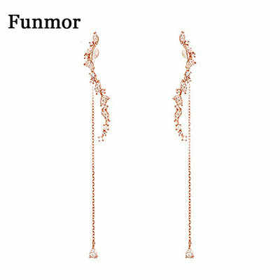 Funmor Luxury Tassel Drop Dangle ต่างหู 925