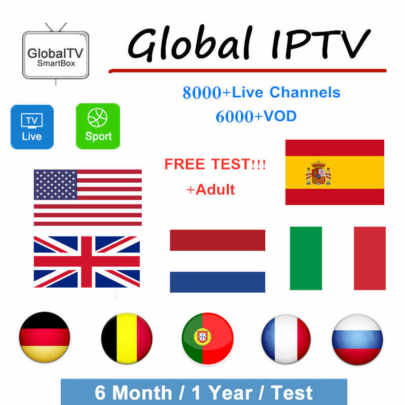 Spain Global iptv subscription m3u abonnement iptv Spain France Netherlands Adult Android tv Box Enigma2 x96 mini Smart TV 1year