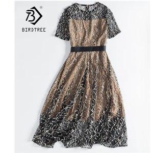 Image 2 - 여자 레이스 가짜 두 조각 자 수 지퍼 드레스 할로우 패치 워크 우아함 높은 허리 Office 레이디 드레스 D8D720I