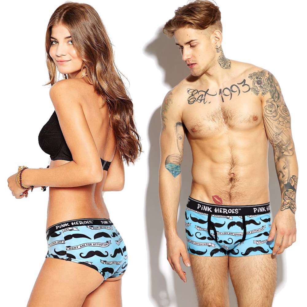 Pink Heroes Cute Lovers' Underwear High Quality Cotton Men Underwear Fashion Printing Women/Men Boxer Shorts Male Panties Gift