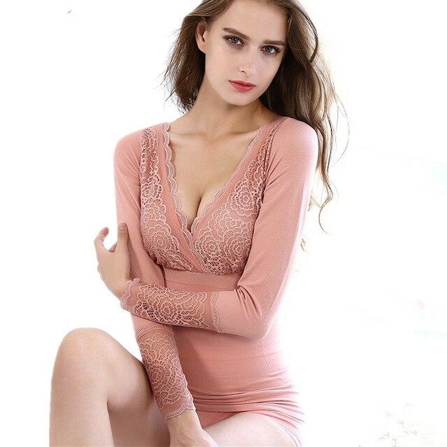 c4301ad5c1bb New Autumn V-neck Lace Underwear For Women Winter Warm Sexy Pajamas Elegant Ladies  Thermal Underwear Second Female Thermal Skin