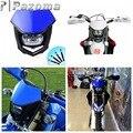 Синяя фара PAZOMA для мотокросса  универсальная фара  освещение  эндуро  двойная Спортивная фара для велосипеда  обтекатель для Yamaha YZ  YZF  WR  WRF  XT ...