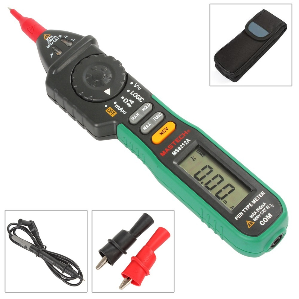 MASTECH MS8212A Pen type Digital Multimeter Multimetro DC AC Voltage Current Tester Diode Continuity Logic Non-contact Voltage mastech ms8211 pen type digital multimeter with ncv tester non contact ac 600v voltage detector ohm multi tester with 2 7v diode