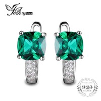 JewelryPalace Cushion 3 1ct Created Green Emerald Clip On Earrings 925 Sterling Silver Earrings For Women