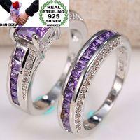 OMHXZJ Wholesale European Fashion Woman Man Party Wedding Gift Square Amethyst AAA Zircon 925 Sterling Silver Ring Set RR76