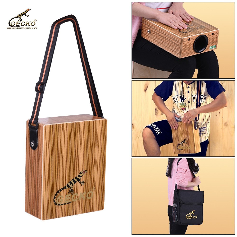 GECKO Cajon Traveling Hand Drum Boxing Percussion With Braces Bag Portable