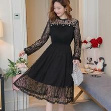 016f72a118a Maternity Spring Mesh Lace Dresses for Pregnant Women Beading Korean Fashion  Midi Long Dress Pregnancy Elegant