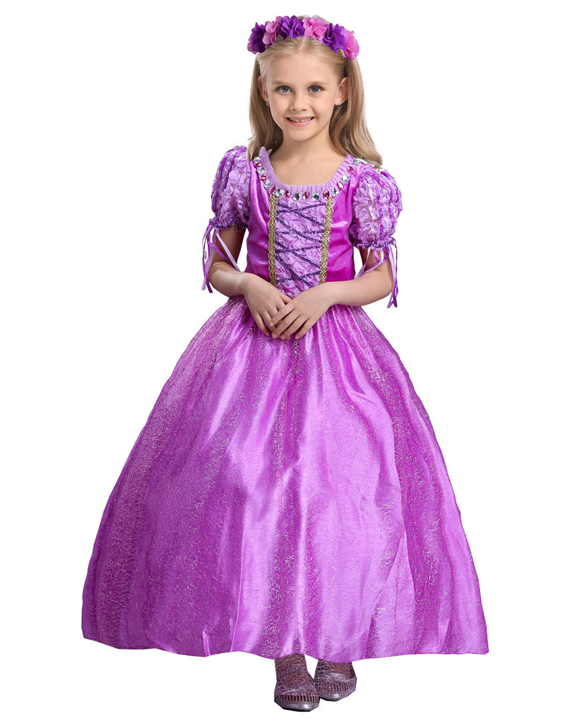 New Sophia Girl Dress Spring Summer Kids Dresses Purple Girls Princess  Kids Cosplay Dress Up Costumes Tulle Party
