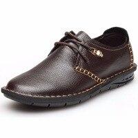 2017 נעליים מזדמנים גברים עור פרה עם אבזם שחור חום גברים דירות נעלי אוקספורד גברים מדריך אופנתי נעלי עור גברים שרוכים 276
