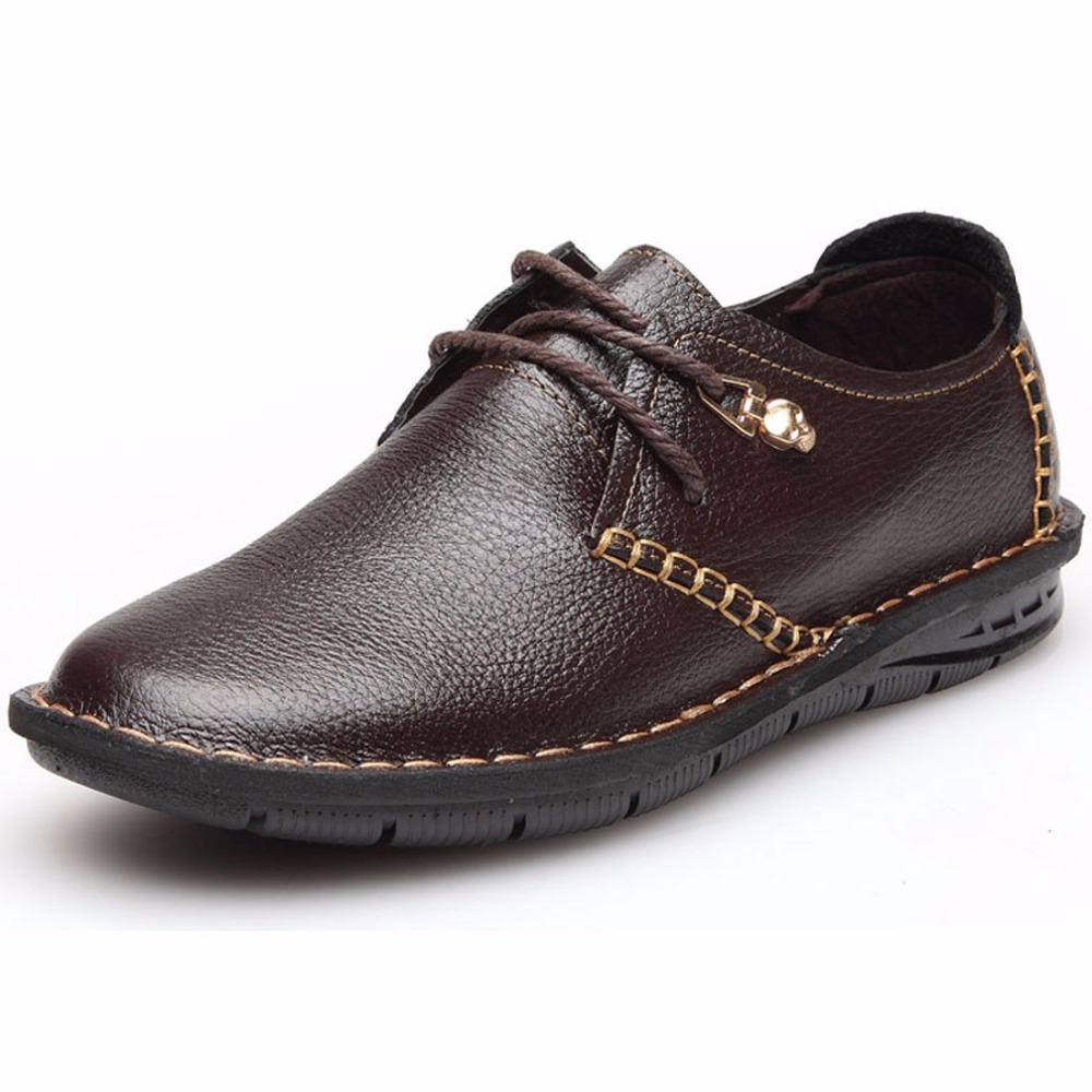 2017 Cow Leather Men Casual Shoes With Buckle Black Brown Men Flats Manual Men Oxfords Trendy ...