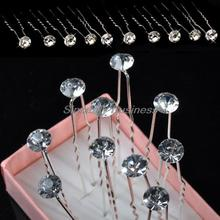 NEW 20Pcs Lots Wedding Bridal Crystal Faux Pearl Flower Hairpins Hair Pins Whitewater drill