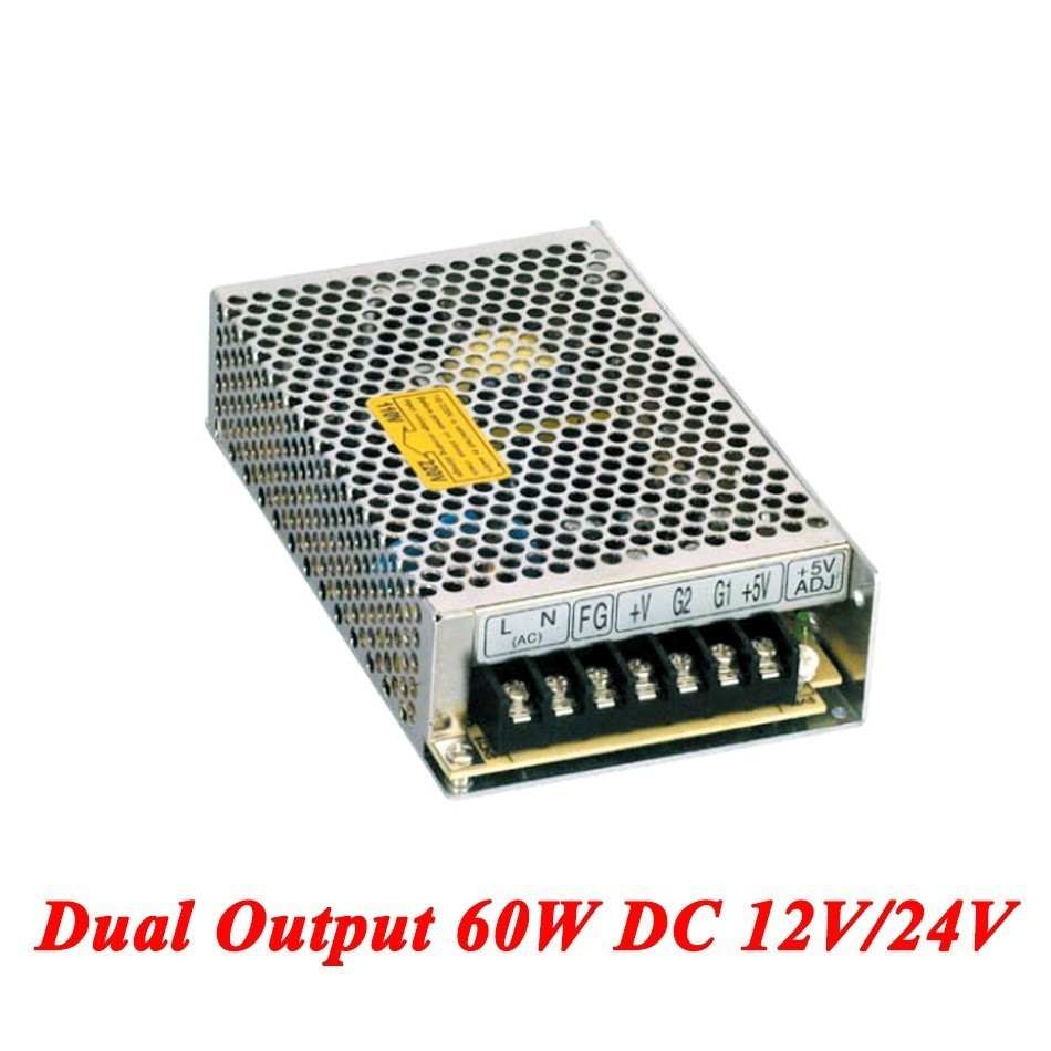 D-60C Switching Power Supply 60W 12V/24V,Double Output AC-DC Power Supply For Led Strip,transformer AC 110v/220v To DC 12v/24v ac110 220v dc 24v 6 5a 150w double output switch power supply for led striplight xwj