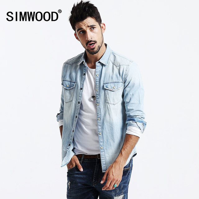SIMWOOD 2016 button down shirts for men jeans shirt coat heren ...
