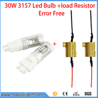2pcs T25 3157 30W CREE Chip LED Bulbs For Turn Signal Brake Up Lamps Car Light Source +2pcs load resistors canbus canceller