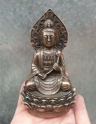 Уникальный! Китайский Старый латунь коллекционные Будды Коллекционирование статуя украшения сада 100% натуральная латунь