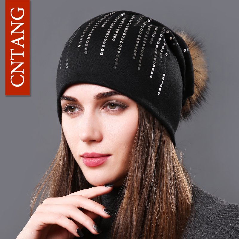 CNTANG Spring Hats For Women Fashion Round Sequins Cotton Caps Female Beanies Real Natural Raccoon Pompoms Fur Autumn Warm Hat